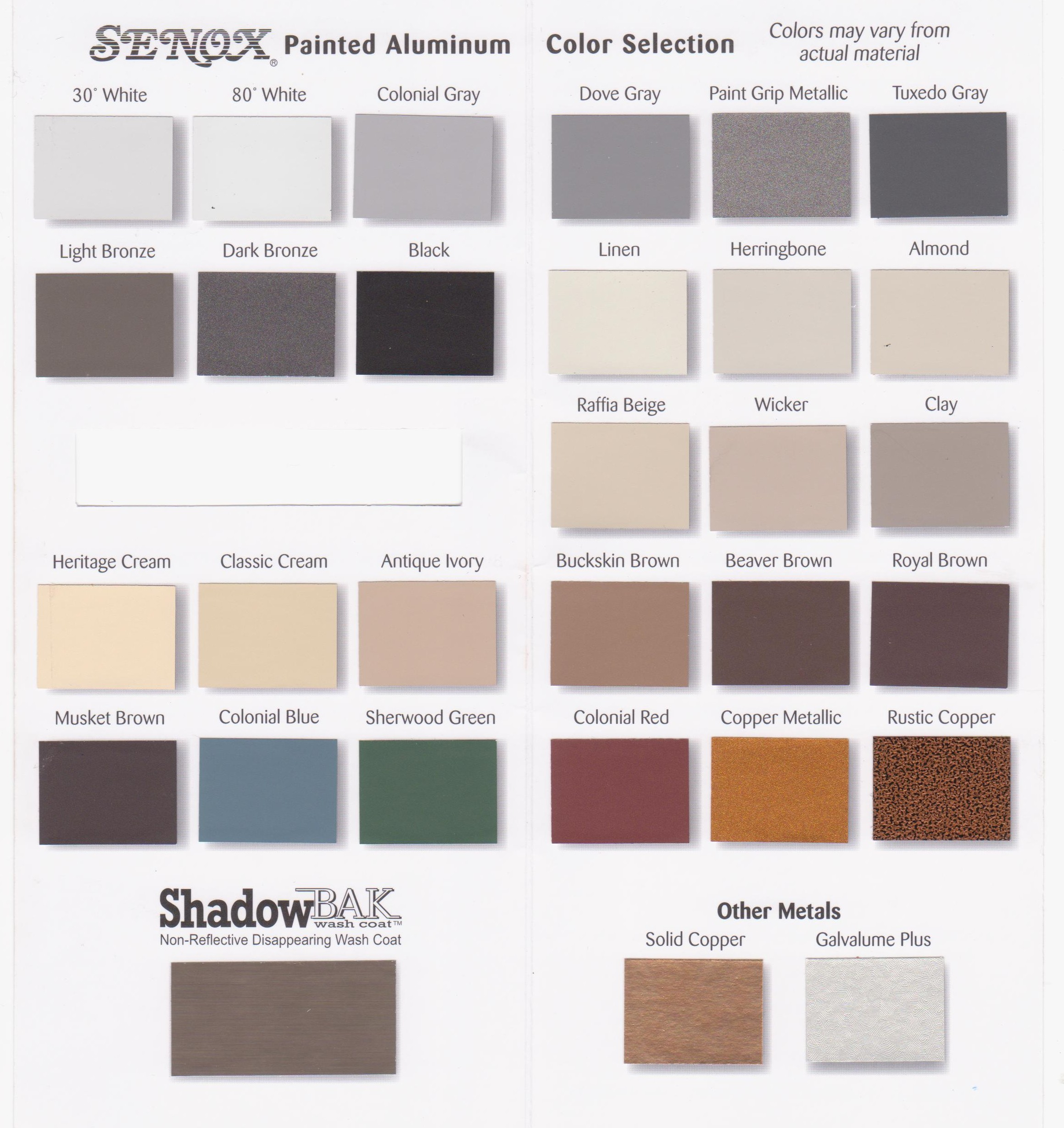 Color chart s s gutter services for Home color selection